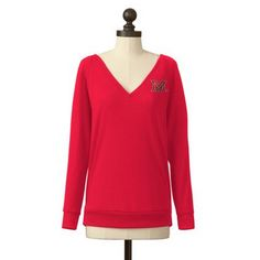 The Miami RedHawks Pullover V-Neck Sweater in Red