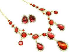 Red metal link necklace and earring s... $8.59