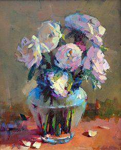 Finom virágok Trisha Adams Oil ~ 20 x 16