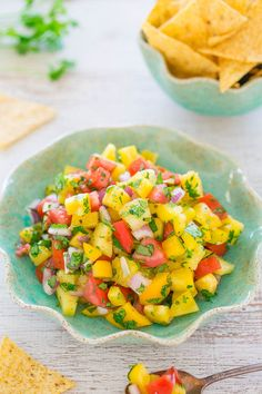Pineapple Salsa - You won't be able to resist this EASY salsa with pineapple, bell peppers, tomatoes, and more!! It tastes like a TROPICAL vacation! Ready in 5 minutes, healthy, and PERFECT for parties!! ~ Avery Cooks