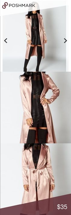 Pink Satin Long Jacket  This sleek yet sexy jacket is PERFECT for fall !!! Reserve today ladies ! Price will be $35, however a discount will be applied to purchases of two or more ! Comment below ! Pricing is final Jackets & Coats Trench Coats