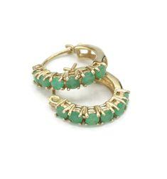 Gold Hoop Earrings, Gold Hoops, Real Gold Jewelry, Vintage Jewelry, Emerald Gemstone, Gemstone Jewelry, Petite Size, Ear Piercings, Turquoise Bracelet