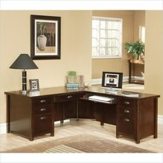 Martin Furniture Kathy Ireland Home by Martin Tribeca Loft Cherry RHF L-Shaped Executive Desk - Home - Furniture - Home Office Furniture - Desks & Hutches