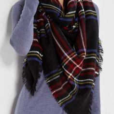 Tartan blanket scarf plaid navy grid oversized Brand new oversized blanket scarf in dark navy tone. 100% acrylic fiber. Super soft! Must have this season! Approximately 55x55 inches! Accessories Scarves & Wraps