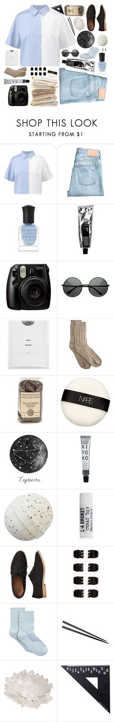 """""""The Wind Blows the Trees But Won't Move Me"""" by unicornonthecobb ❤ liked on Polyvore featuring T By Alexander Wang, Deborah Lippmann, Fujifilm, Acne Studios, Bamford, NARS Cosmetics, L:A Bruket, Gap, Forever 21 and HUE"""
