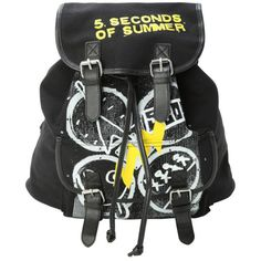 5 Seconds Of Summer Symbols Slouch Backpack | Hot Topic ($37) ❤ liked on Polyvore featuring bags, backpacks, 5sos, slouch backpack, slouch bag, backpacks bags, canvas rucksack and black backpack