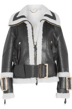 Black and ecru shearling, black leather Two-way zip fastening through front 100% shearling (Sheep); trim: 100% leather (Lamb) Specialist clean Made in Italy