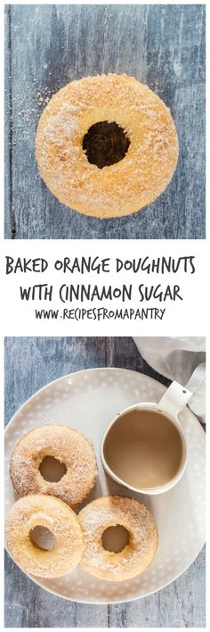 Treat yourself with these *baked orange doughnuts with cinnamon sugar* | Recipes From A Pantry via @recipespantry