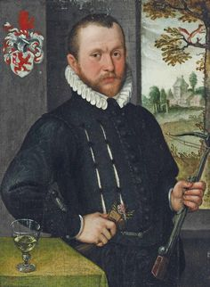 English: Portrait of a gentleman, three-quarter-length, in a black, slashed doublet and white ruff, a crossbow in his left hand, gloves and a flower in his right, a landscape beyond with monogram 'CL (lower right) and a coat-of-arms (upper left).