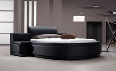 Owen - Black Leather Round Bed with Storage lafurniture.com