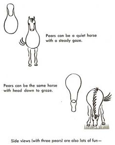 Drawing horses with pear shapes