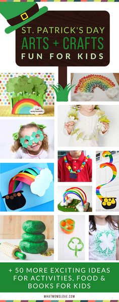St Patricks Day Crafts for Kids - the best ideas for DIY arts and crafts to celebrate St Paddys Day. Free printables, plus Shamrock and Rainbow inspired crafts that kids love!