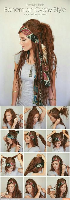 Sport a voguish look with an ultra-chic Boho hairstyle. Go through the roundup of bohemian hairstyle ideas and latest Boho-chic hairdo inspirations. Diy Hairstyles, Pretty Hairstyles, Wedding Hairstyles, Pirate Hairstyles, Gypsy Hairstyles, Hairstyle Ideas, Boho Hairstyles For Long Hair, Summer Hairstyles, Witchy Hairstyles