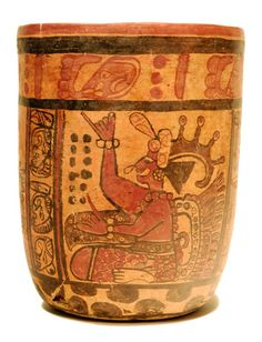 Mayan Pottery Copador Cylinder Late Classic, Ca. 600 to 900 AD.