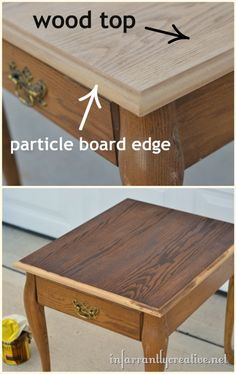 """TIP: Stained wood top and painted edge ... After sanding the oak table I realized only the top of the table was wood and the """"side of the top"""" was particle board. Particle board wouldn't stain well. So I ended up only staining the very top of it and the sides I painted."""