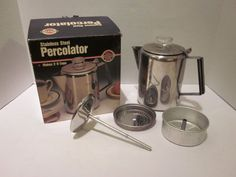 Norpro 549 Stainless Steel Percolator 2-9 Cups w/Box Stovetop