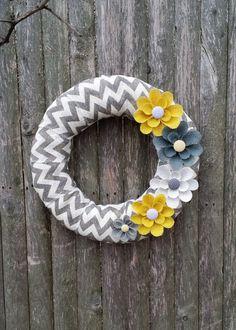 Summer Wreath, Spring Wreath, Chevron Burlap Wreath, Year Round Wreath Gray, White and Yellow Burlap Flowers