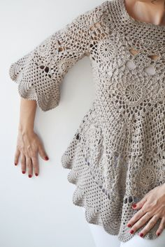 Latte Crochet Sweater by Afra The sweater is perfect for spring and summer. Made with cotton yarn. It is stylish and very cozy. Perfect addition to your feminine style. Size:M, L Cleaning: Machine wash under 30 degrees on gentle cycle and lay flat to dry. Poncho Au Crochet, Pull Crochet, Mode Crochet, Crochet Jacket, Crochet Blouse, Knit Crochet, Crochet Tops, Crochet Bodycon Dresses, Black Crochet Dress