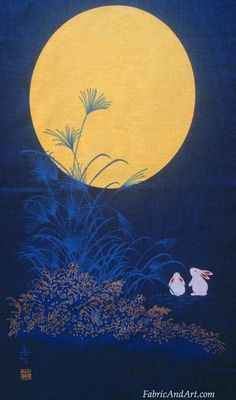 Rabbits under a full bright moon. Blue grasses with gold metallic detail-Japanese fabric panel-sides are raw edges