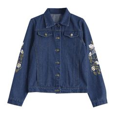 Button Up Floral Embroidered Denim Jacket ($26) ❤ liked on Polyvore featuring outerwear, jackets, floral embroidered jacket, button up jacket, blue jean jacket, button down jacket and denim jacket