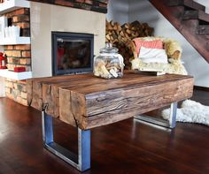 Handmade Reclaimed Wood & Steel Coffee Table Vintage Rustic Industrial  loft end table unique brown old wood old beams silver legs by MadeFromWoodDesigns on Etsy https://www.etsy.com/listing/502579615/handmade-reclaimed-wood-steel-coffee
