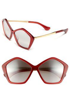 Miu Miu 'Culte Collection' Geometric Sunglasses Red One Size