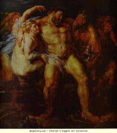Peter Paul Rubens. Hercules Drunk, Being  Led Away By a Nymph and a Satyr. Olga's Gallery.