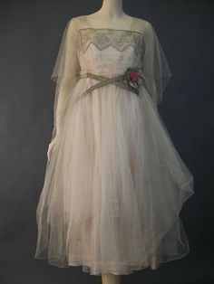 ca 1916 pale pink silk lamé dress covered in pink silk tulle