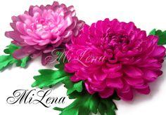 Хризантема из ленты / Пошаговый МК /  Ribbons Chrysanthemum /  DIY Kanza...