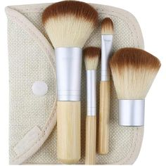 Bliss & Grace. 4 Piece Travel Make-Up Brush Set In Travel Pouch ($14) ❤ liked on Polyvore featuring beauty products, makeup, makeup tools, makeup brushes, brown, eye shadow brush, powder brush, shadow brush, eyeshadow brushes and makeup powder brush