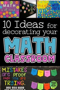 I love these math classroom decoration ideas! Math bulletin boards, door decorations, functional wall displays for decorating your math class. Inspiration for back to school and getting the classroom setup to welcome students. Math Wall, Math Word Walls, Math Teacher, Teaching Math, Teaching Division, Math Classroom Decorations, Classroom Setup, Maths Classroom Displays, Modern Classroom