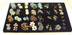 32 Pair LOT of Vintage Earrings, Cluster, Rhinestones, Danglng, Some Signed by bitzofglitz4u on Etsy   Makes them 2.50 per pair