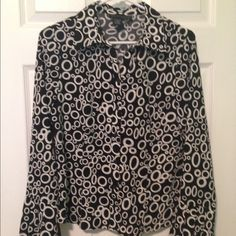 Vintage Inspired 60's Mod Style Top Vintage inspired 1960's Mod style black and white top by Ninety. Size M. Button front. Groovy geometric print and bell detail on lower sleeves. Very good condition. Pair with black/white shorts and boots. ✌️ Ninety Tops Blouses
