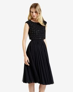 Embellished pleated skirt dress - Black | Dresses | Ted Baker UK