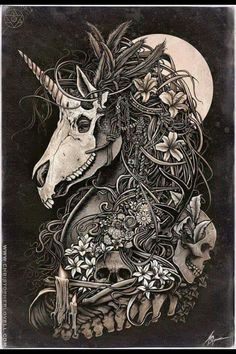 Unicorn skull by Christopher Lovell so intense! Art And Illustration, Fantasy Kunst, Fantasy Art, Totenkopf Tattoos, Unicorn Tattoos, Dragon Unicorn Tattoo, Creation Art, Arte Horror, Inspiration Art
