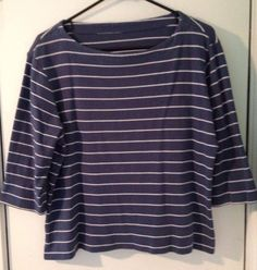 ONLY $0.99 @Ebay   Ladies Navy Blue White Striped 3/4 Length Sleeve Casual Top #Tagless #KnitTop #Casual