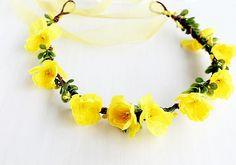 Yellow Flower Crown, Woodland Head Wreath, Rustic Crown, Wedding Hair Piece, Floral Crown, Flower Girl Halo, Yellow Head Wreath, Boho Halo