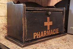 Bread box made into a counter top medicine chest.