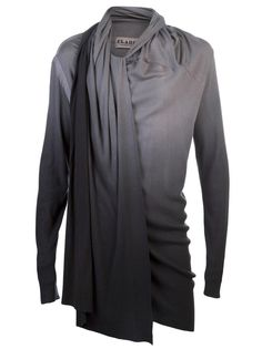 For the High-Fashion Sophisticated Man: Drape ombre tunic in grey from Clade. This cotton blend tunic features an asymmetric neck with a connected scarf, long sleeves, side gathering, and ombre detail at the cuff and hem.