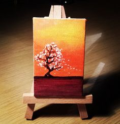 "Tiny painting ""White Leaves"". Acrylic on mini canvas 8 x 5 cm"
