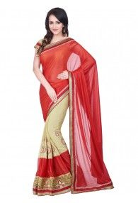 Shonaya Red & Beige Color Chiffon & Lycra Embroidery Saree With Unstitched Blouse Piece
