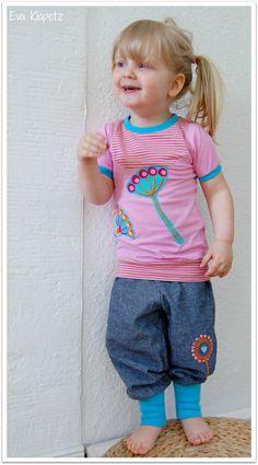 Doppelnaht: 7-teilige JinnyJou Kombi Schnitte: rosa Shirt - Lina von Frau Liebstes Pumphose - Moira von MamuDesign  Stickdatei: Pusteblumen huups Stoffe: JinnyJou-Kollektion
