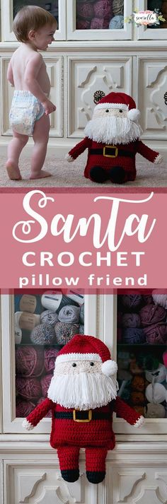 Crochet this easy Santa Claus Pillow Friend for the holiday season! Perfect beginner friendly free pattern for Christmas decor or gift giving!