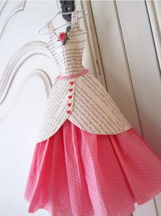 This pretty dress miniature is made from pages from a book and serviettes. The bodice detail is carefully stitched in pink cotton, and has a cherry 3d Paper Crafts, Book Crafts, Paper Crafting, Paper Art, White Coat Hangers, Paper Dresses, Mini Dresses, Princess Invitations, Invites