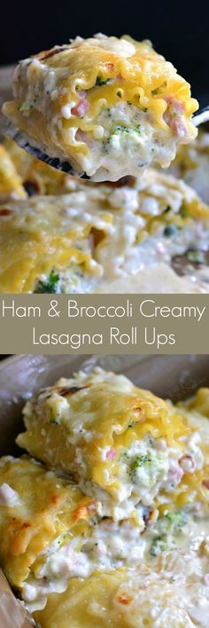 Ham and Broccoli Creamy Lasagna Roll Ups. They are made with a creamy, cheesy mixture, packed with ham and broccoli, and topped with a cheesy cream sauce. #ad #hamrecipe #lasagnarecipe @sugardalefoods