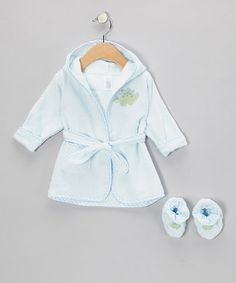 Take a look at this Blue Dinosaur Terry Robe & Booties by SpaSilk on #zulily today!