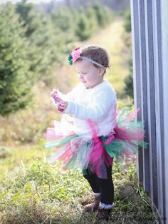 Christmas Baby Tutu Green Pink Red with Flower Headband - Newborn to 2T - Christmas Photos, Christmas Cards, Parties by TutuCaChu on Etsy
