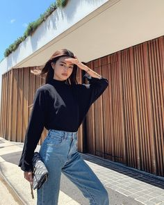 looking for friday like ✨ Lily Maymac in the Reid ribbed mock neck sweater top link in bio! Best Photo Poses, Girl Photo Poses, Girl Photos, Fashion Poses, Girl Fashion, Fashion Outfits, Model Poses Photography, Fashion Photography, Aesthetic Fashion