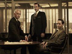 Roger, Don and Pete | Season 5  Pete in an Eames Executive Chair, the table an Eames segmented base table