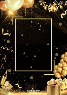 Background Of Gift Box Champagne Black Gold Party Happy Birthday Wishes Photos, Happy Birthday Frame, Happy Birthday Wallpaper, Birthday Posts, Birthday Frames, Black And Gold Balloons, Black Gold Party, Bday Background, Birthday Background Wallpaper